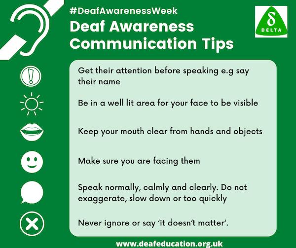 Deaf Awareness Week 2021 – Communication Tips